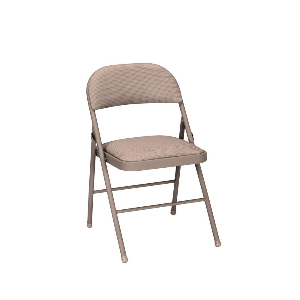 folding chair fabric back support cosco antique linen deluxe padded chairs 4 pack