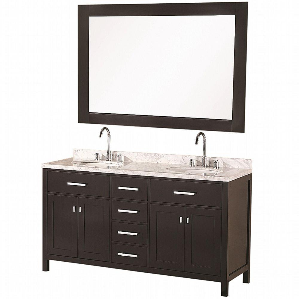 Design Element London 61 in W x 22 in D Vanity in Espresso with Marble Vanity Top and Mirror