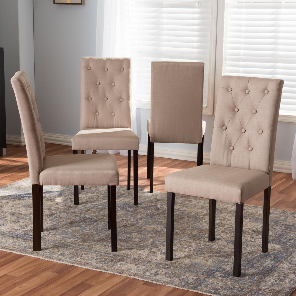 Dining Room Chairs Set Of 4 Baxton Studio Gardner Beige Fabric Upholstered Dining Chairs Set