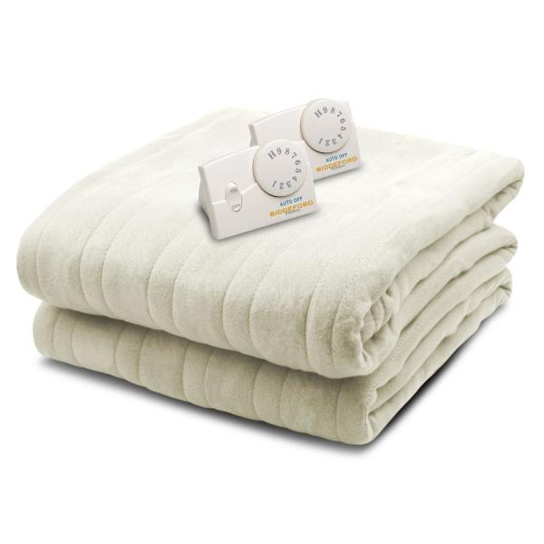 Biddeford Blankets 1004 Series Comfort Knit Heated 100 in. x 90 in. Natural King Size Blanket 1004-903192-757 - The Home Depot