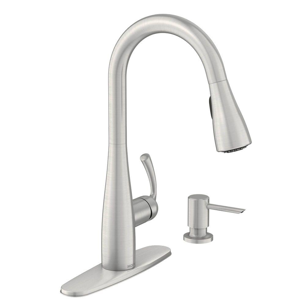 kitchen faucet moen recycled cabinets essie single handle pull down sprayer with reflex and power clean in spot resist stainless