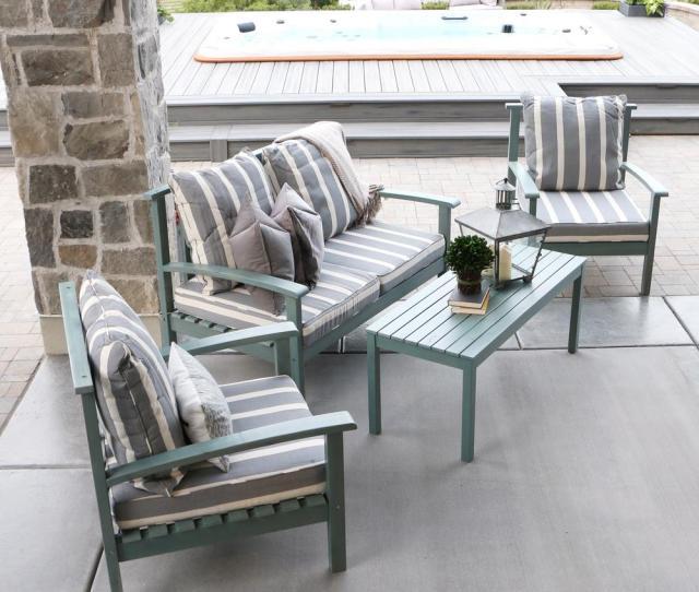 Ocean Grey Acacia Wood  Piece Patio Conversation Set With Cushions