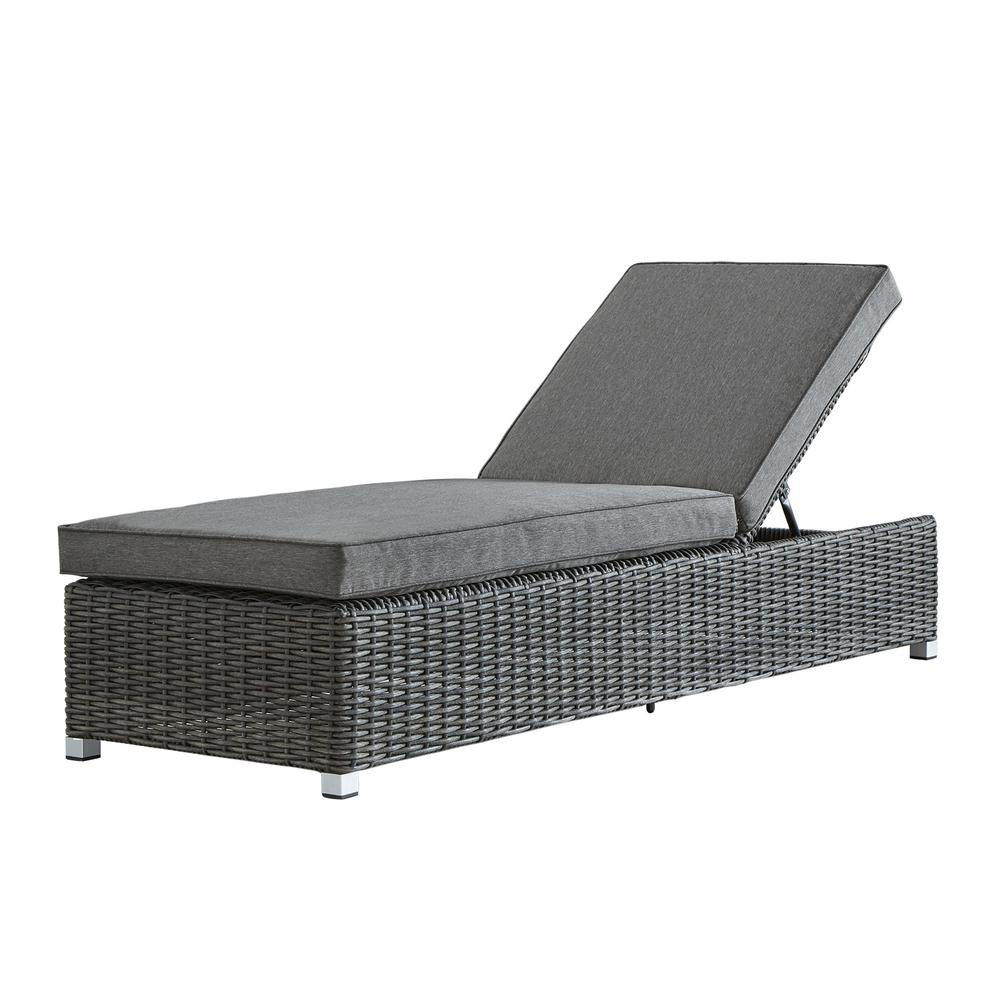 wicker chaise lounge chairs outdoor dining chair store homesullivan camari charcoal adjustable with gray cushion