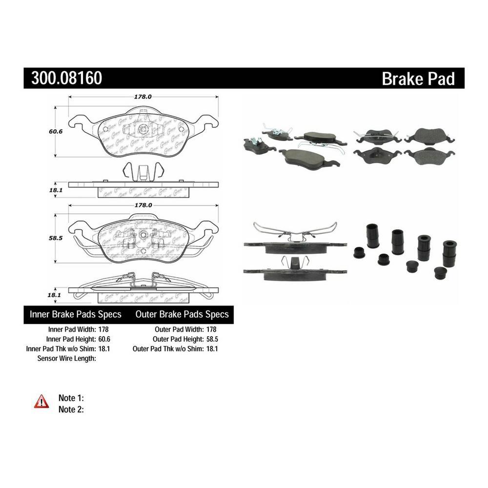 Centric Disc Brake Pad Set 2003-2004 Ford Focus 2.3L-300