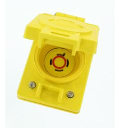 20 amp 480 volt 3 phase wetguard locking flush mounting single outlet with flip lid yellow [ 1000 x 1000 Pixel ]