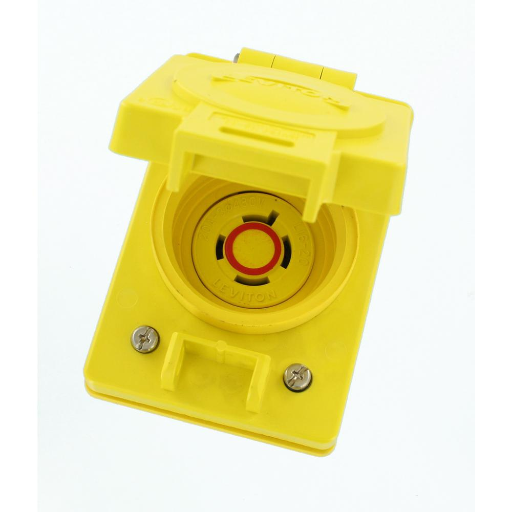 medium resolution of 20 amp 480 volt 3 phase wetguard locking flush mounting single outlet with flip lid yellow