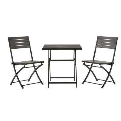 bistro tables and chairs pink leather chair sets patio dining furniture the home depot 3 piece poly lumber outdoor set