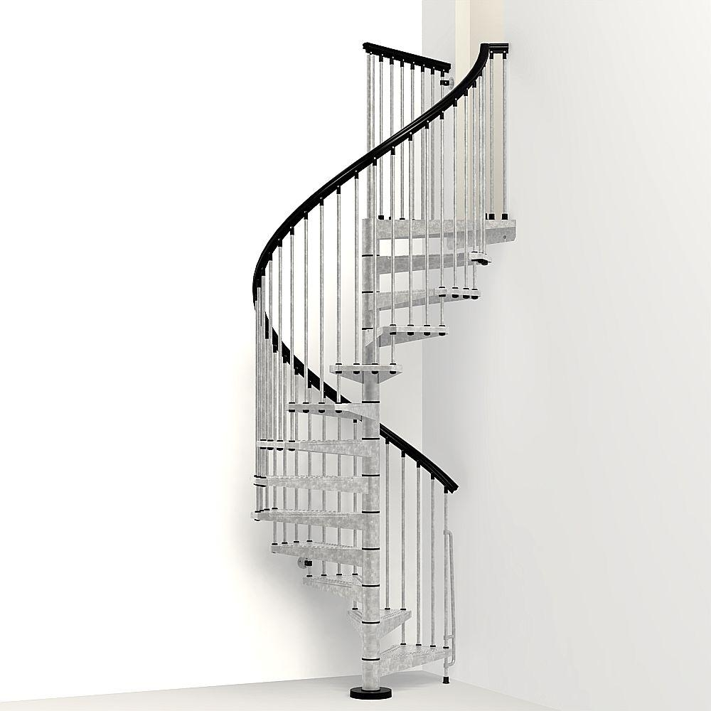 Arke Enduro 63 In Galvanized Steel Spiral Staircase Kit K05003   Painting Metal Spiral Staircase   Stair Case   Staircase Kit   Stair Railing   Powder Coating   Spray Paint