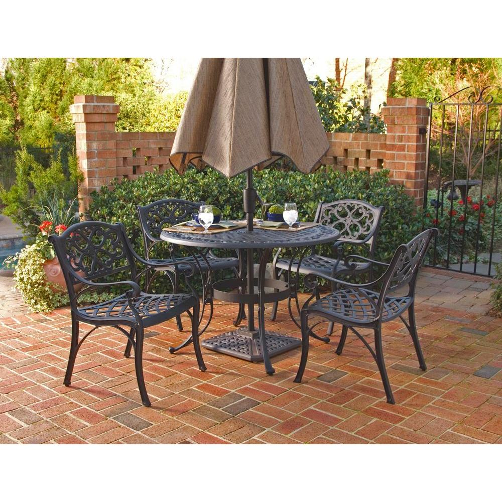 small outdoor patio table and chairs nailhead dining room home styles biscayne black 5 piece set 5554 328 the