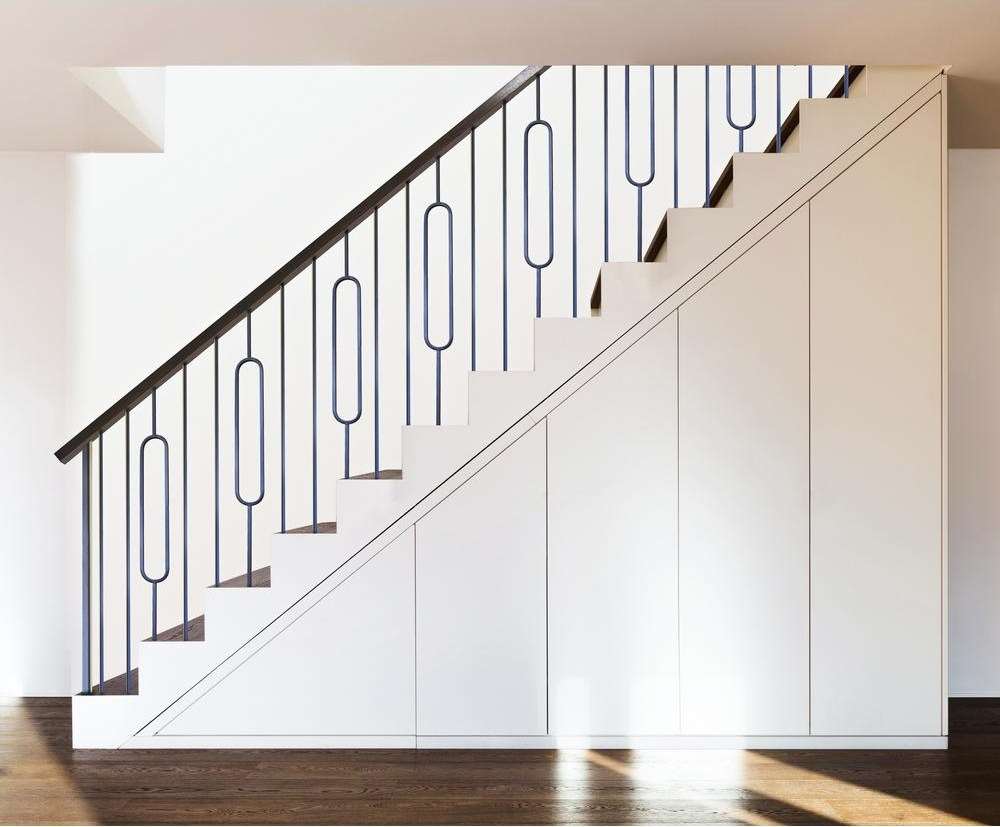 House Of Forgings Aalto Modern 44 In X 5 In Satin Black Single | Iron Spindles For Staircase | Simple | Modern 2019 Staircase | Farmhouse Style | Arched Metal | Basket