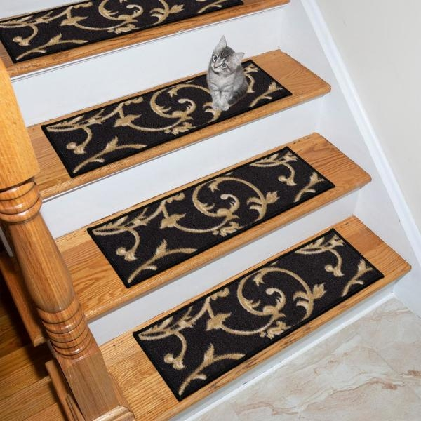 Ottomanson Ottohome Collection Black 9 In X 26 In Polypropylene | Wood Stair Treads Home Depot | Vinyl Flooring | Stair Risers | Indoor Stair | Tread Covers | Unfinished Pine Stair