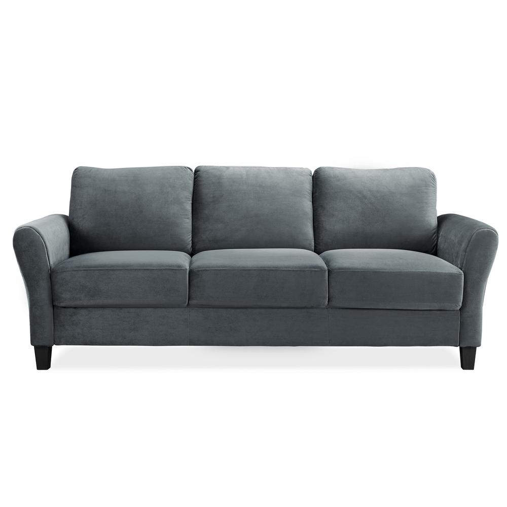 microfiber sofas sofa bed wooden frame lifestyle solutions wesley with rolled arms in dark grey