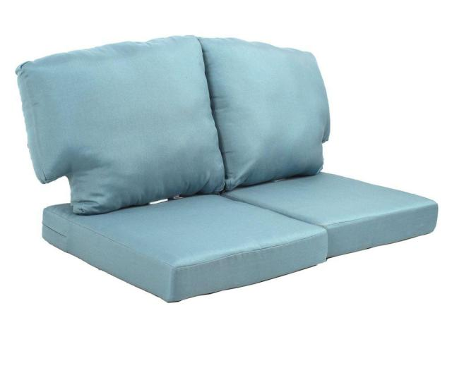 Martha Stewart Living Charlottetown Washed Blue Replacement Outdoor Loveseat Cushion