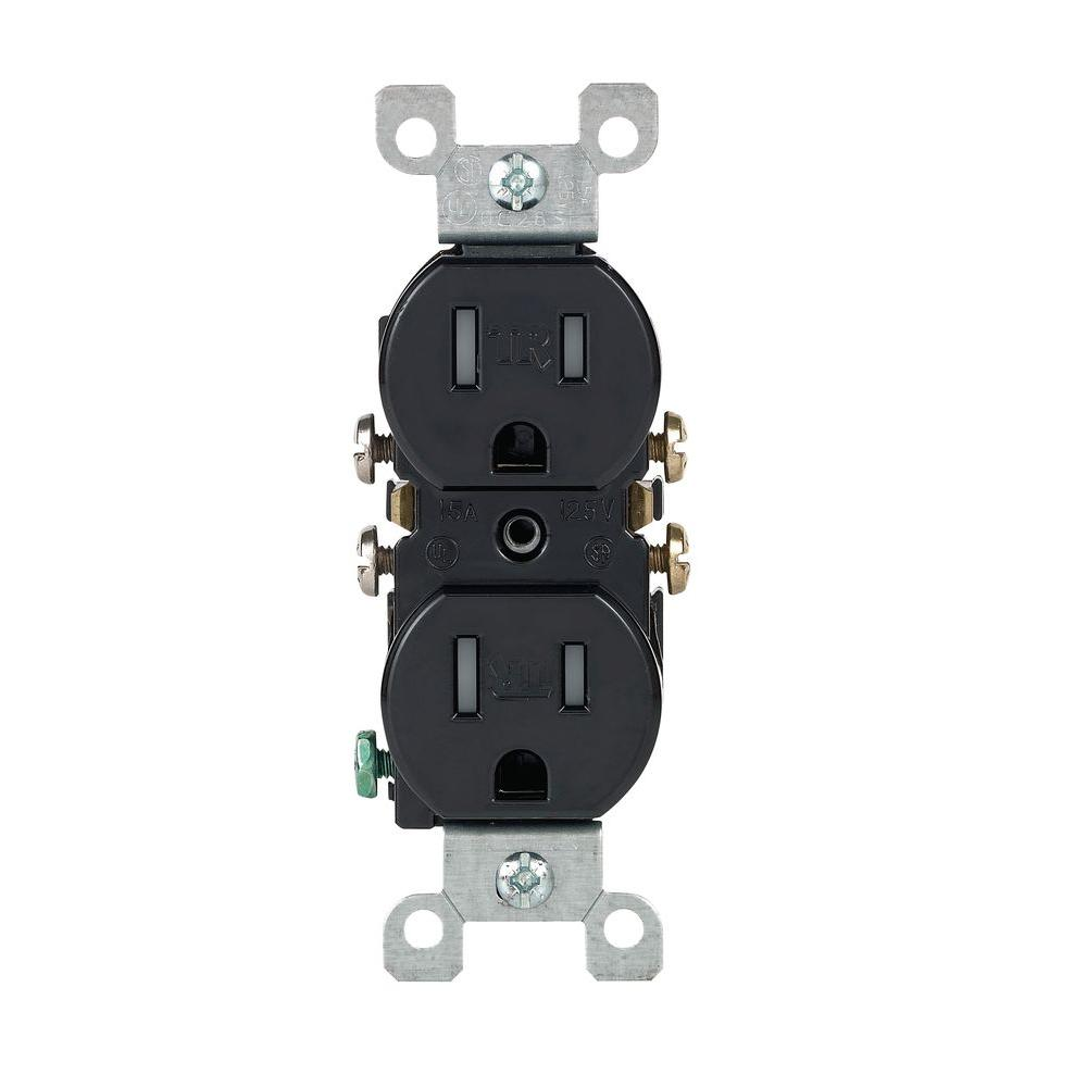 hight resolution of leviton 15 amp tamper resistant duplex outlet black