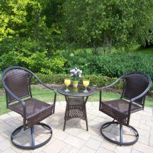 Tuscany Coffee Wicker 3-piece Outdoor Bistro Set-hd90079s2