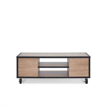 modern light oak living room furniture center table coffee accent tables bemis weathered mobile storage