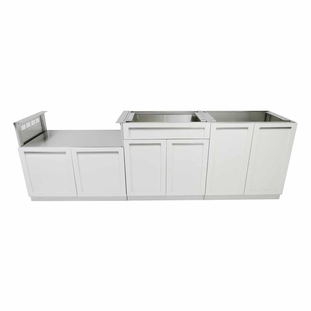 3 piece kitchen set back splash ideas 4 life outdoor stainless steel 104x35x22 5 in cabinet with powder coated doors white