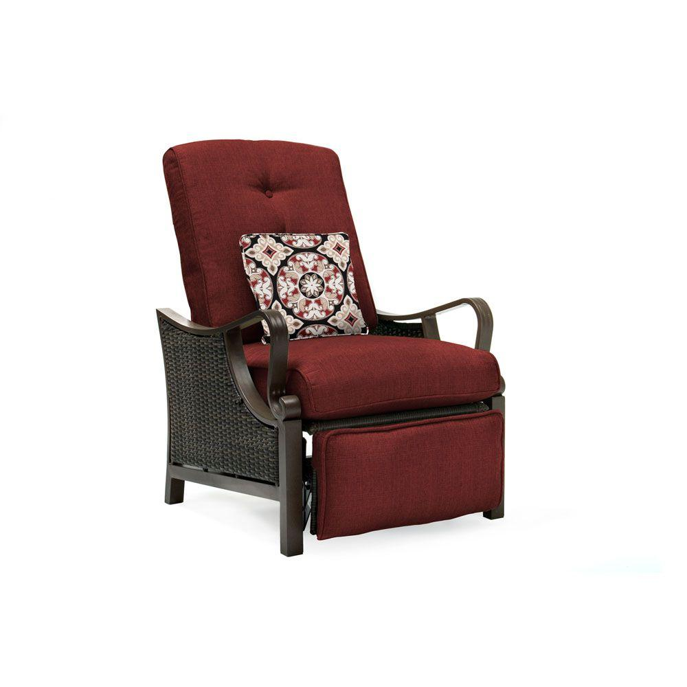 recliner patio chair for sit stand desk hanover ventura all weather wicker reclining lounge with crimson red cushions