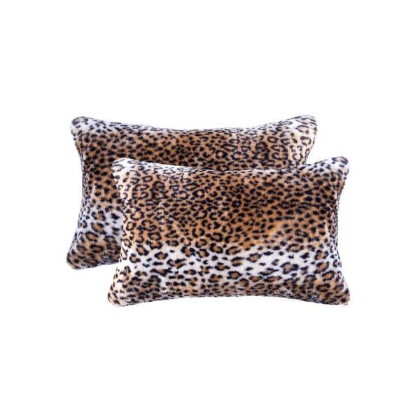 Leopard 12 X 20 In. Faux Sheepskin Decorative Pillow Sofa