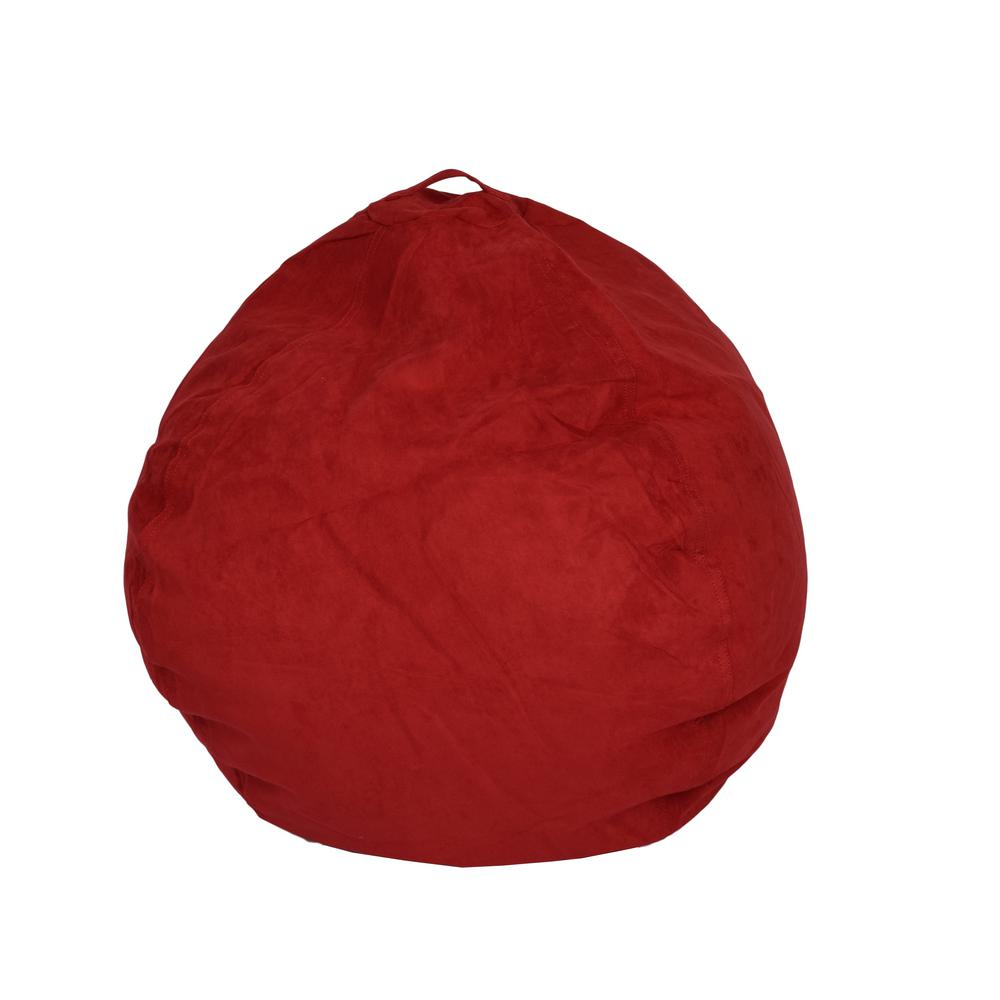 cool bean bag chairs dental chair ace casual furniture red microsuede 9800701 the home depot