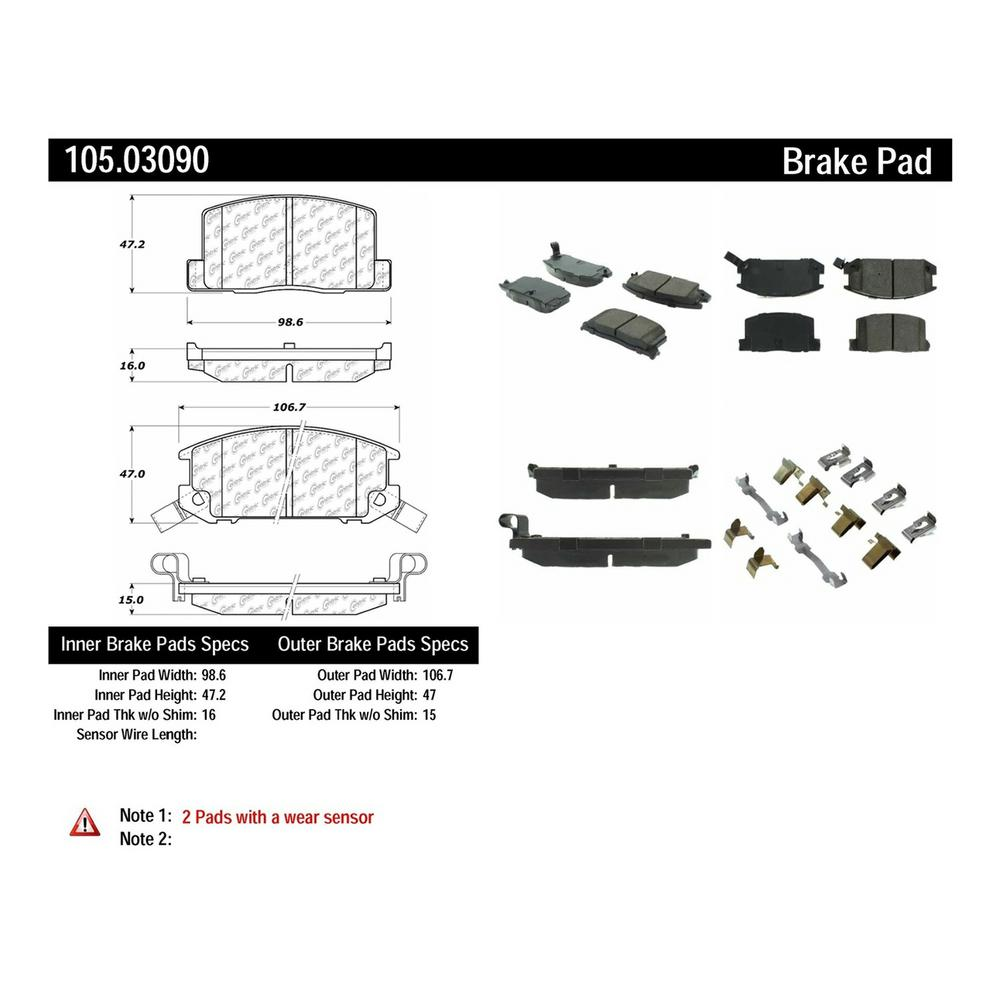 Centric Parts Disc Brake Pad Set 1985-1989 Toyota MR2 1.6L
