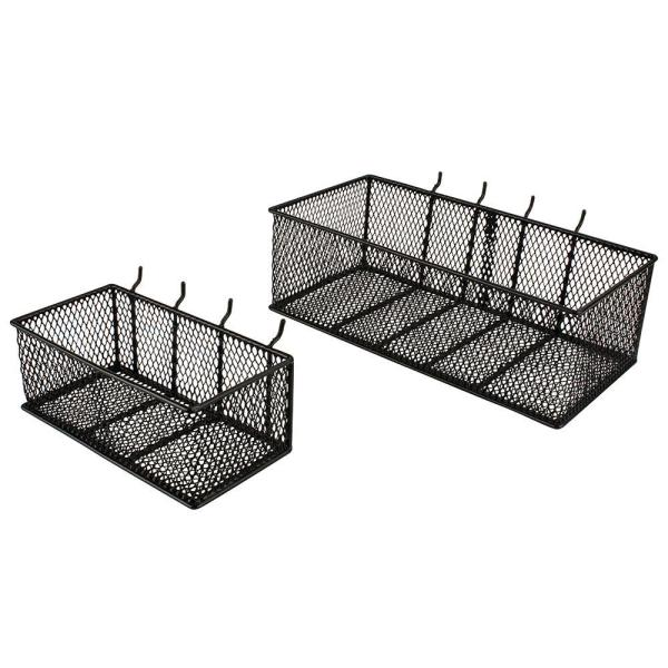 Steel Mesh Pegboard Basket In Black 2-pack -24265