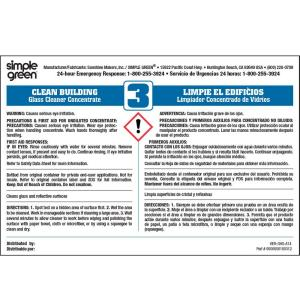 Simple Green Clean Building Glass Cleaner Secondary Label