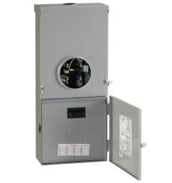 ge 200 amp 4 space 8 circuit outdoor combination main breaker ringless meter socket load center [ 1000 x 1000 Pixel ]