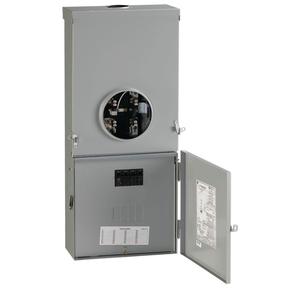 hight resolution of ge 200 amp 4 space 8 circuit outdoor combination main breaker ringless meter socket load center
