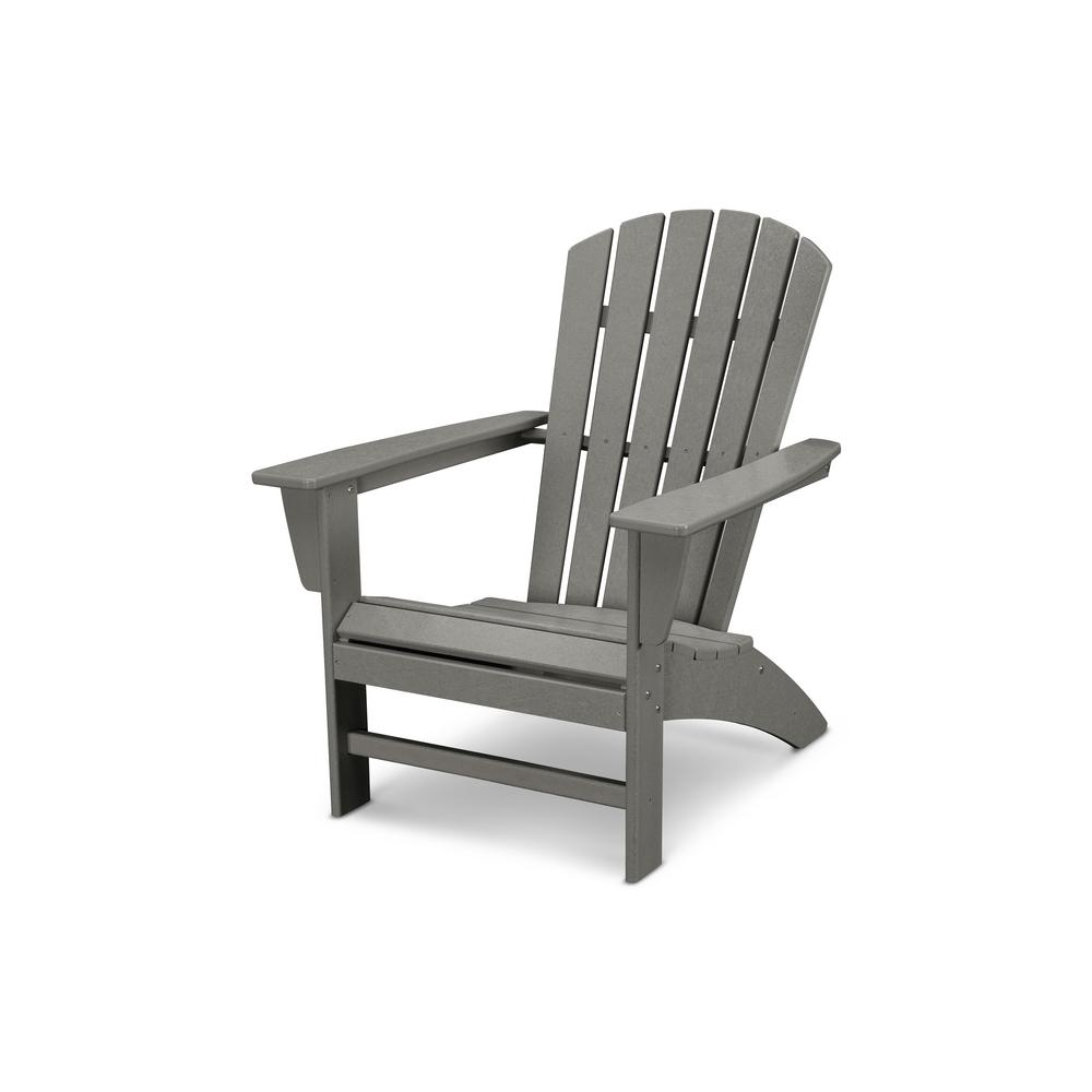 gray adirondack chairs teal kitchen polywood traditional curveback slate grey plastic outdoor patio chair ad440gy the home depot