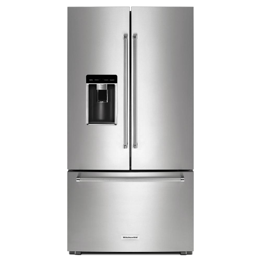 kitchen aid appliance honey oak cabinets kitchenaid 23 8 cu ft french door refrigerator in printshield stainless steel counter depth
