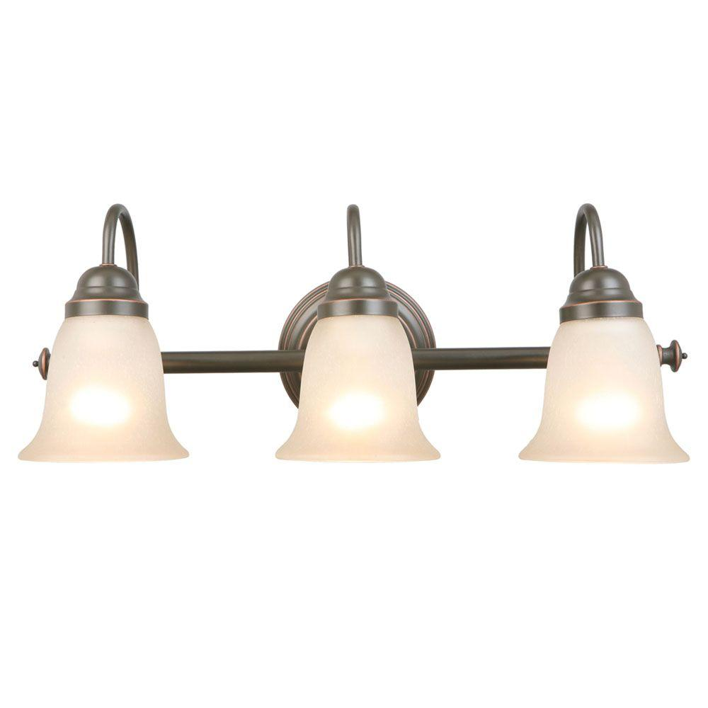 Bathroom Light Fixtures Hampton Bay Springston 3 Light Oil Rubbed Bronze Vanity Light With Tea Stained Glass Shades