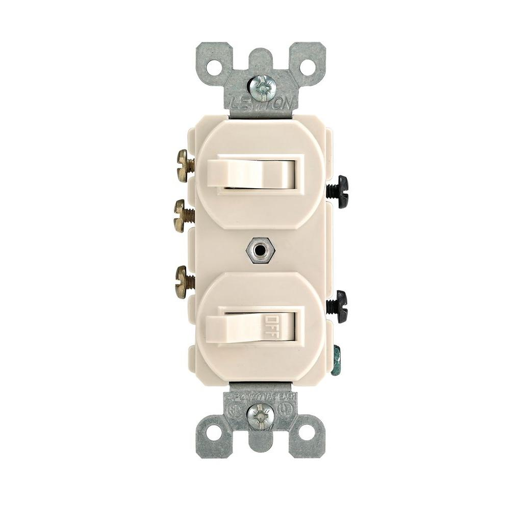 medium resolution of leviton 15 amp 3 way combination double switch light almond