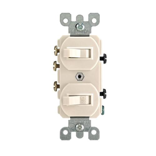 small resolution of leviton 5241 t 15 amp 120 277 volt duplex style single pole 3 way ac combination switch commercial grade light almond