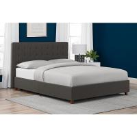 DHP Emily Gray Upholstered Linen Queen Size Bed Frame ...