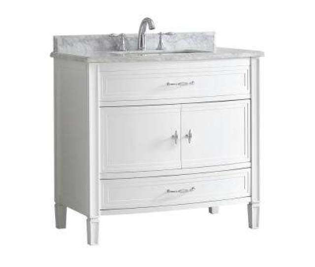 Dacosti  In W X  In D Vanity In White With Marble Vanity Top