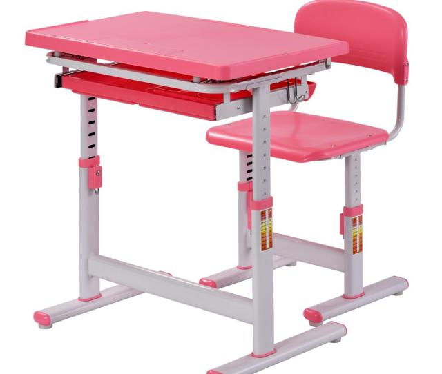 Muscle Rack 2 Piece Pink Ergonomic Adjustable Kids Standing Desk And Chair