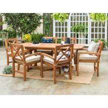Walker Edison Furniture Company 7-piece Brown Outdoor