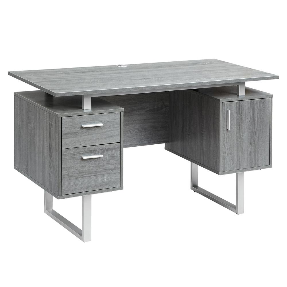 Techni Mobili Gray Modern Office Desk with StorageRTA