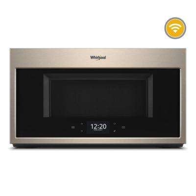 bronze kitchen appliances wall tile for sunset whirlpool the home depot smart over range microwave in with scan