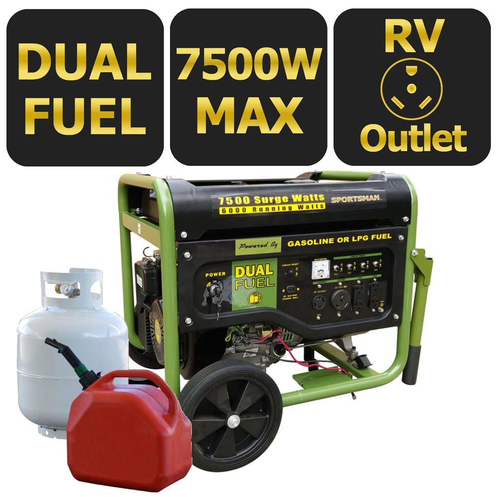 medium resolution of sportsman 7 500 6 000 watt dual fuel powered portable generator with electric start and runs