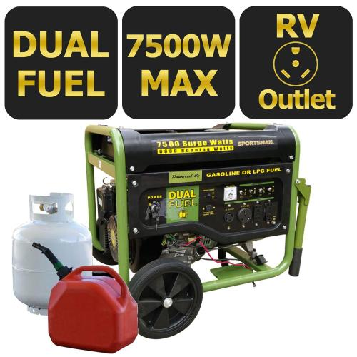 small resolution of sportsman 7 500 6 000 watt dual fuel powered portable generator with electric start and runs