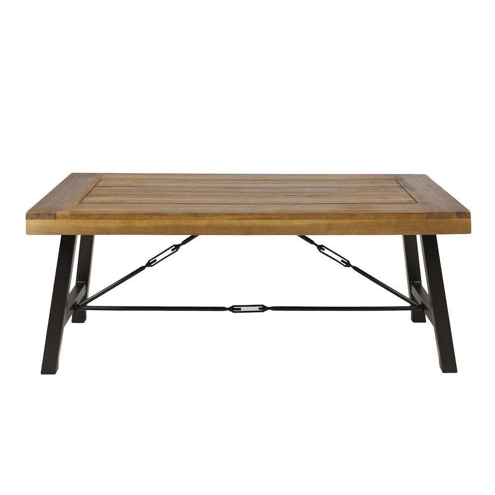 noble house catriona rustic metal frame rectangular teak brown wood outdoor coffee table 41810 the home depot