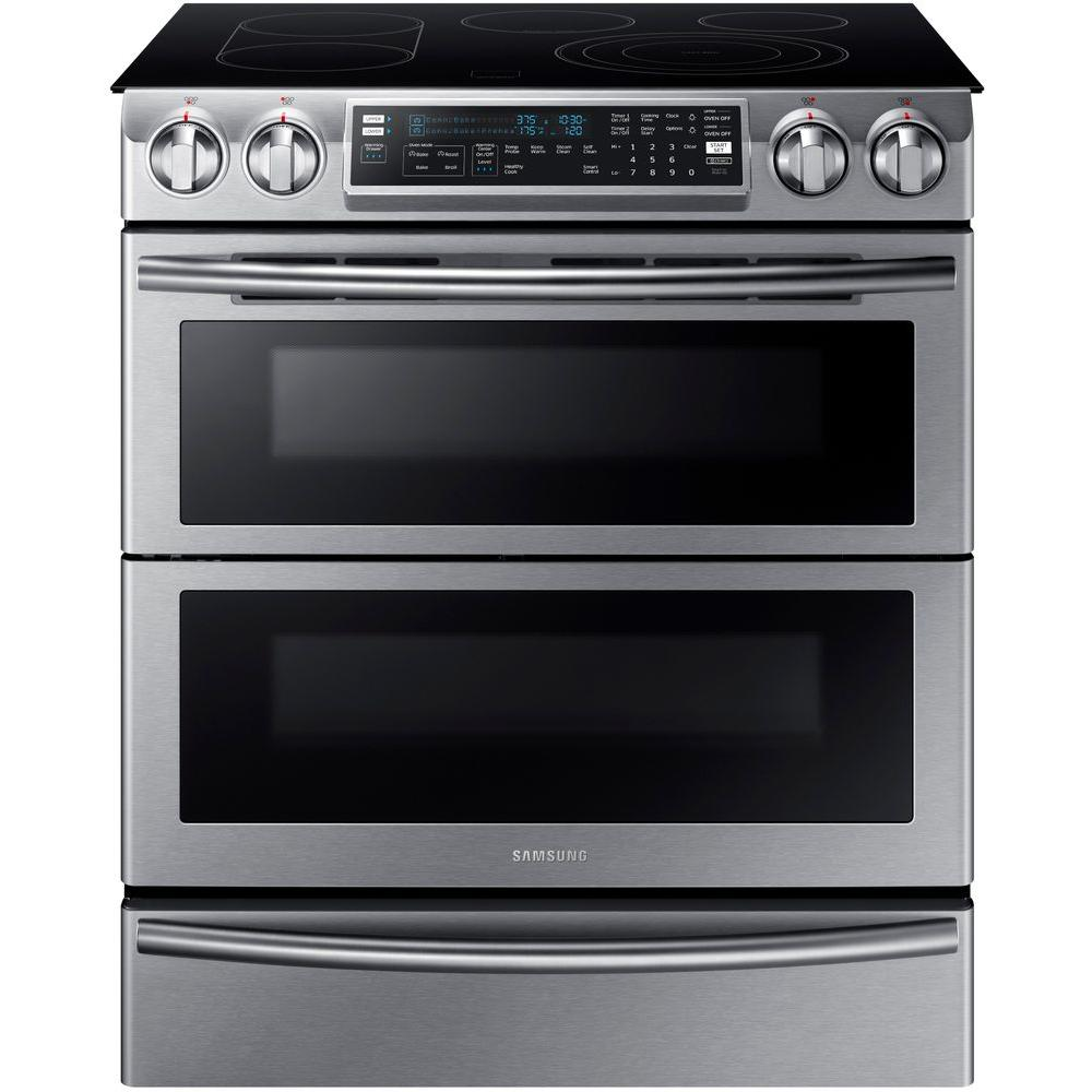 medium resolution of samsung flex duo 5 8 cu ft slide in double oven electric range with