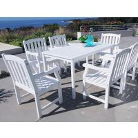 Vifah Bradley Acacia White 7-Piece Patio Dining Set with ...