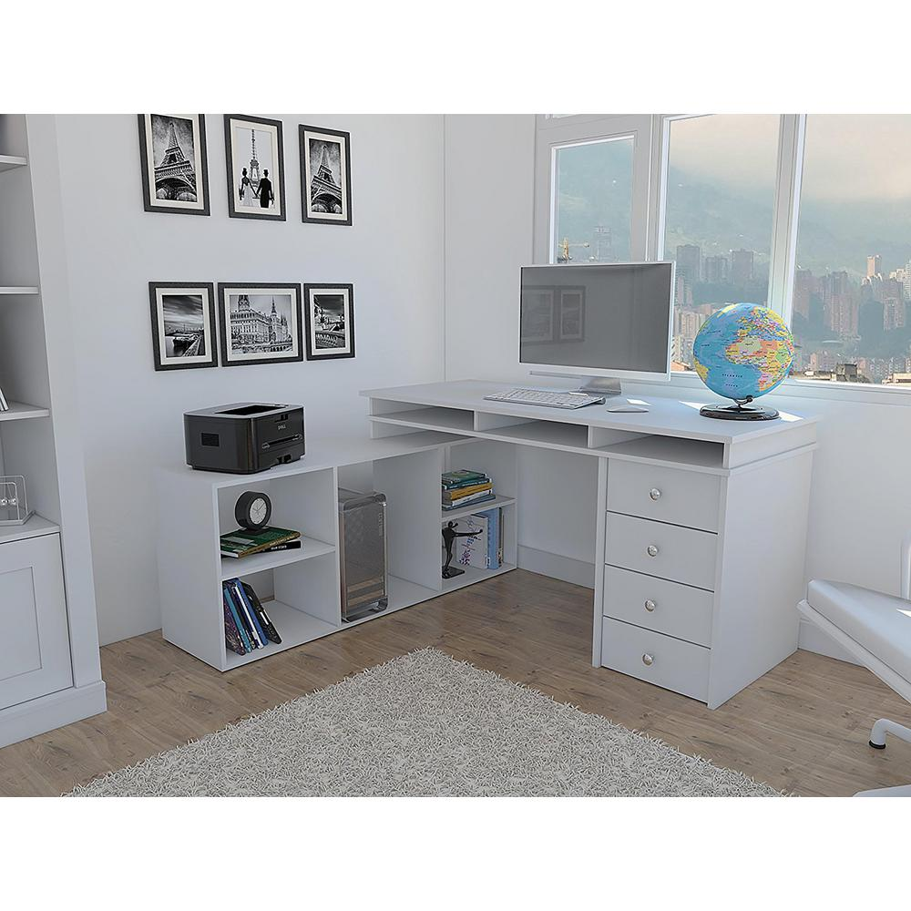 Houston White LShaped Corner Desk with 4DrawersELB2603