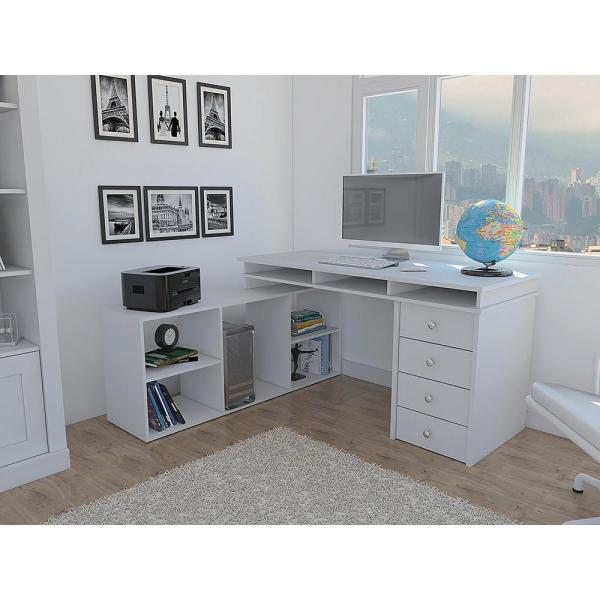 Houston White L-shaped Corner Desk With 4-drawers-elb2603