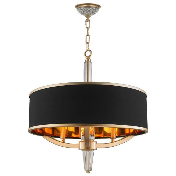 Worldwide Lighting Gatsby 3-light Matte Gold Chandelier With Black Drum Shade-cp139mg21