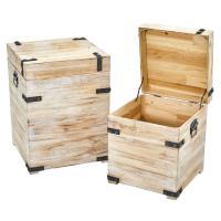 Nearly Natural Decorative White Wash Wood Storage Boxes ...