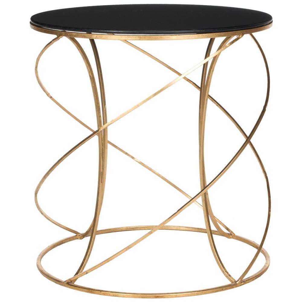 safavieh cagney gold and black glass top end table fox2535b the home depot